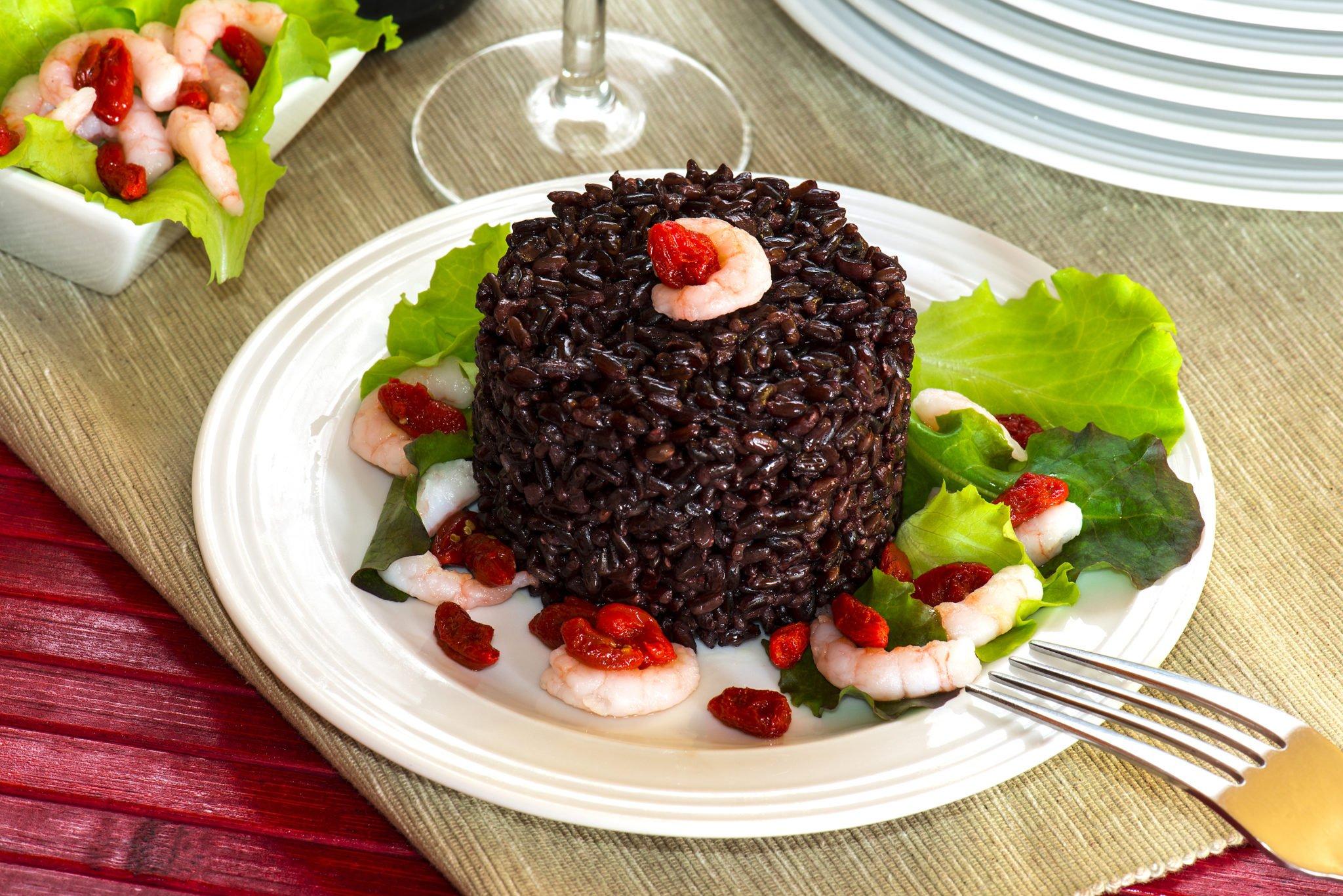 risotto riz noir crevettes